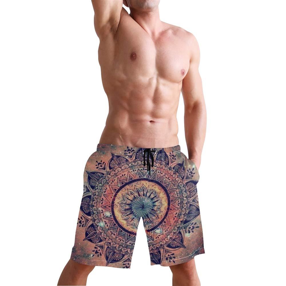 Vicoci Mens Boho Geometric Floral Print Swimming Trunk Surf Shorts Beach Swimsuits