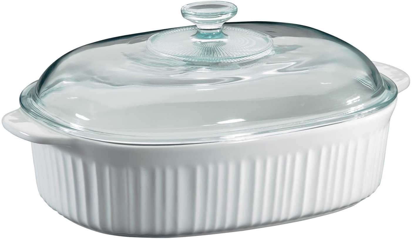 CorningWare French White 4 Quart Oval Casserole W//Glass Cover