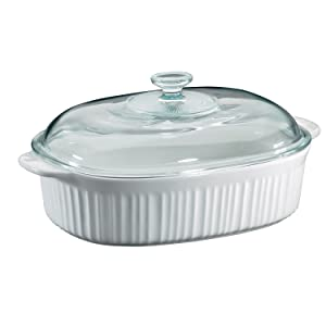 CorningWare 6002278 French White 4 Quart Oval Casserole W/Glass Cover