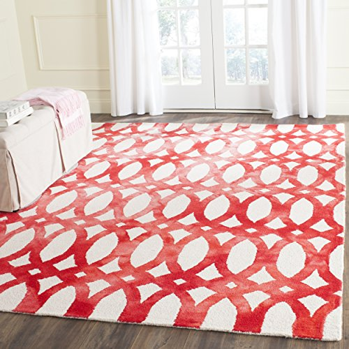 Safavieh Dip Dye Collection DDY675C Handmade Geometric Watercolor Ivory and Red Wool Square Area Rug (7' Square)