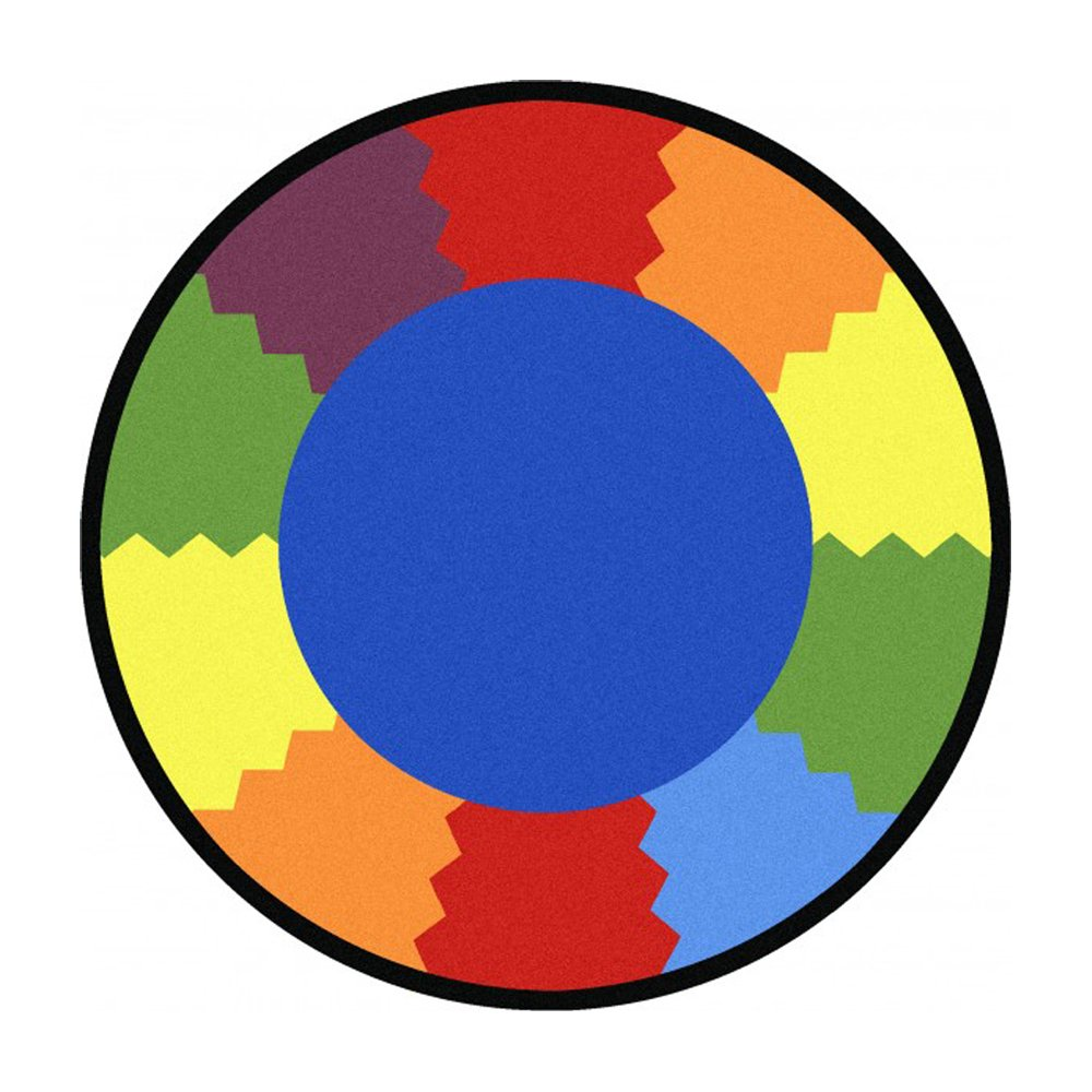 Joy Carpets Kid Essentials Early Childhood Round Block Party Rug, Multicolored, 5'4''