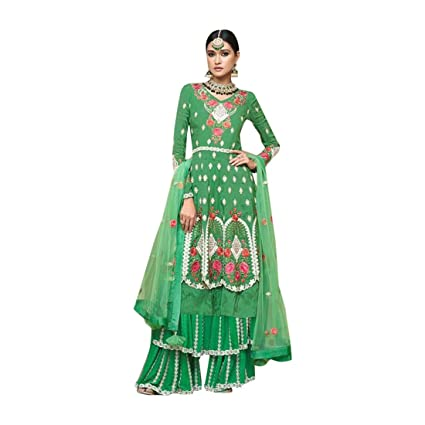 8752596986 Amazon.com: Eid Green Double Layered Garara Salwar Kameez Party ...