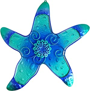 "Comfy Hour 10"" Blue Metal Art Starfish Wall Decor"