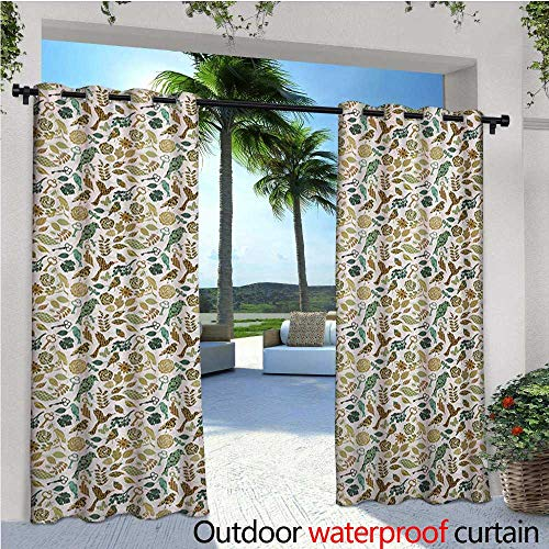 homehot Leaves Outdoor Blackout Curtains Birds Dragonflies and Keys in Foliage Themed Image on Bullseye Heart Background Outdoor Privacy Porch Curtains W72 x L108 Multicolor (Bullseye Light Plum)