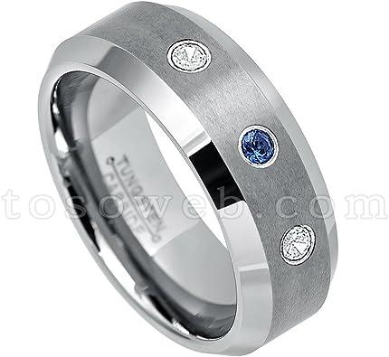 0.21ctw Blue Sapphire /& White Diamond Titanium Ring 8MM Brushed Finish Comfort Fit Beveled Edge White Wedding Band