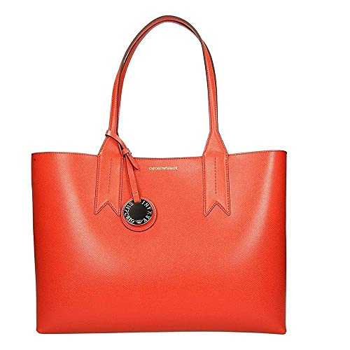52b889dae3ec Emporio Armani Frida Red Textured Top Handle Bowling Bag Red leather  Amazon.co.uk   Shoes   Bags