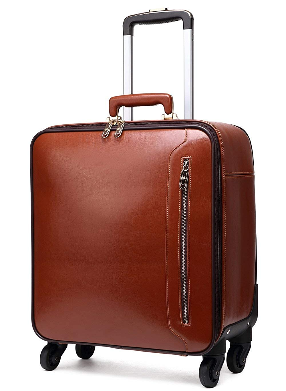 Osonm 本革牛革スーツケース キャリーバッグ キャスター ワニ模様 機内持ち込みスーツケース コンピューターパック 旅行 出張 2527P1 B07GMMRL76 ブラウン S