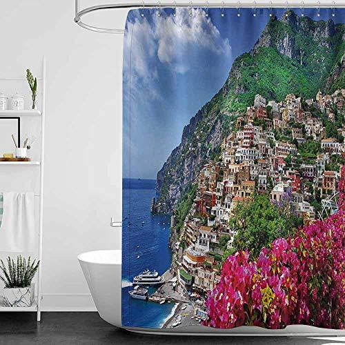 Positano Blossom Orange - StarsART Shower Curtains Fabric Orange Italy,Scenic View of Positano Amalfi Naples Blooming Flowers Coastal Village Image,Pink Green Blue,W69 x L90,Shower Curtain for Shower stall
