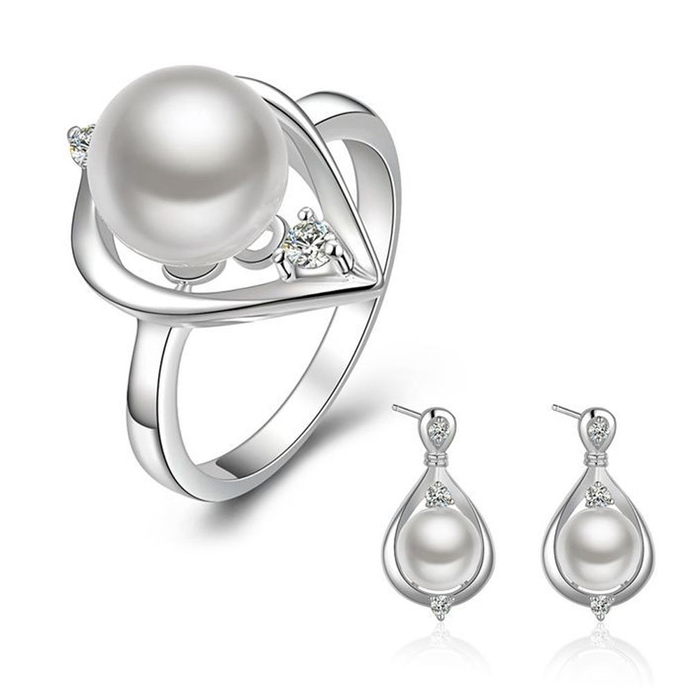 Happy Gogou 925 Silver Plated Waterdrop Pearls Jewelry Sets (Necklace Earrings Rings) LKNSPCS736