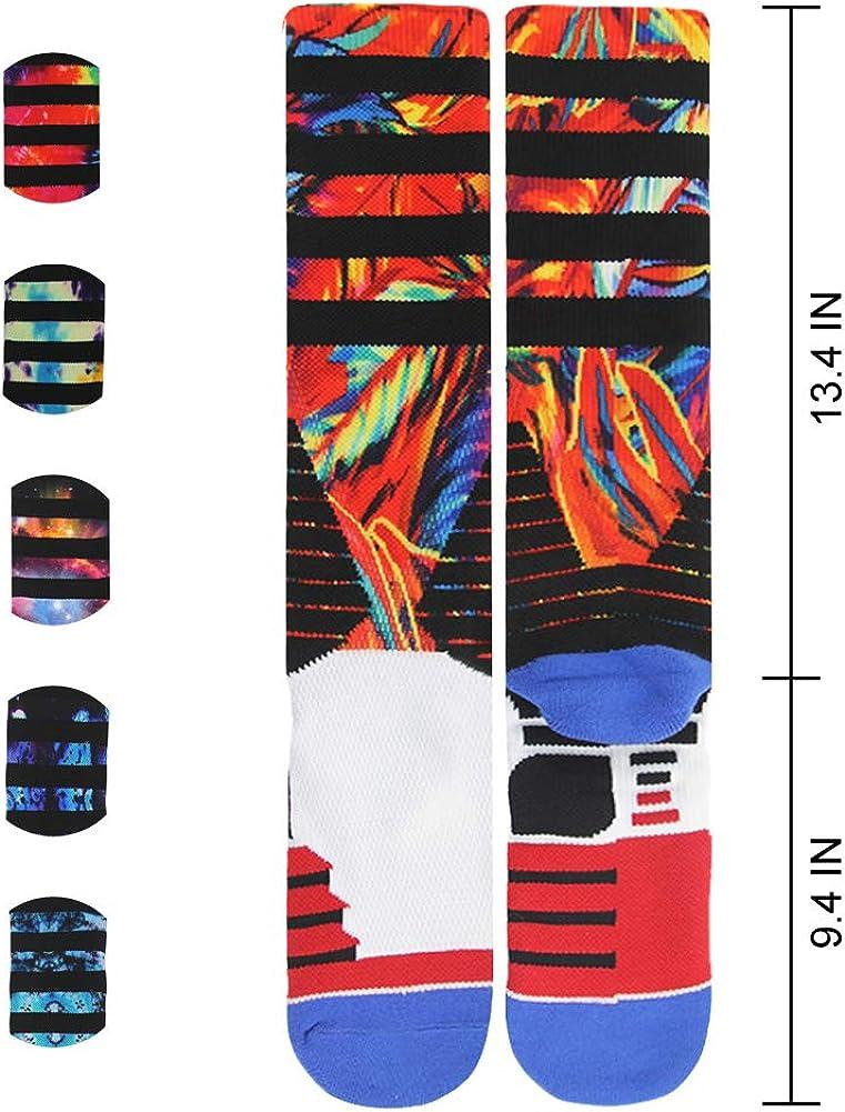 J'colour Basketball Socks, Cushioned Athletic Sports Crew Socks for Men & Women: Clothing