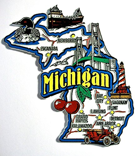 Michigan Jumbo State Map Fridge Magnet