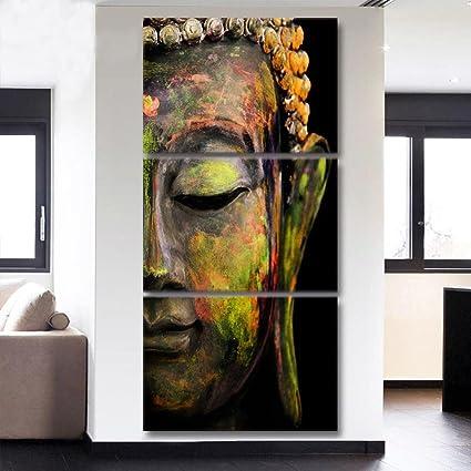Amazon.com: HD Printed Canvas Wall Art 3 Piece Buddha Meditation ...