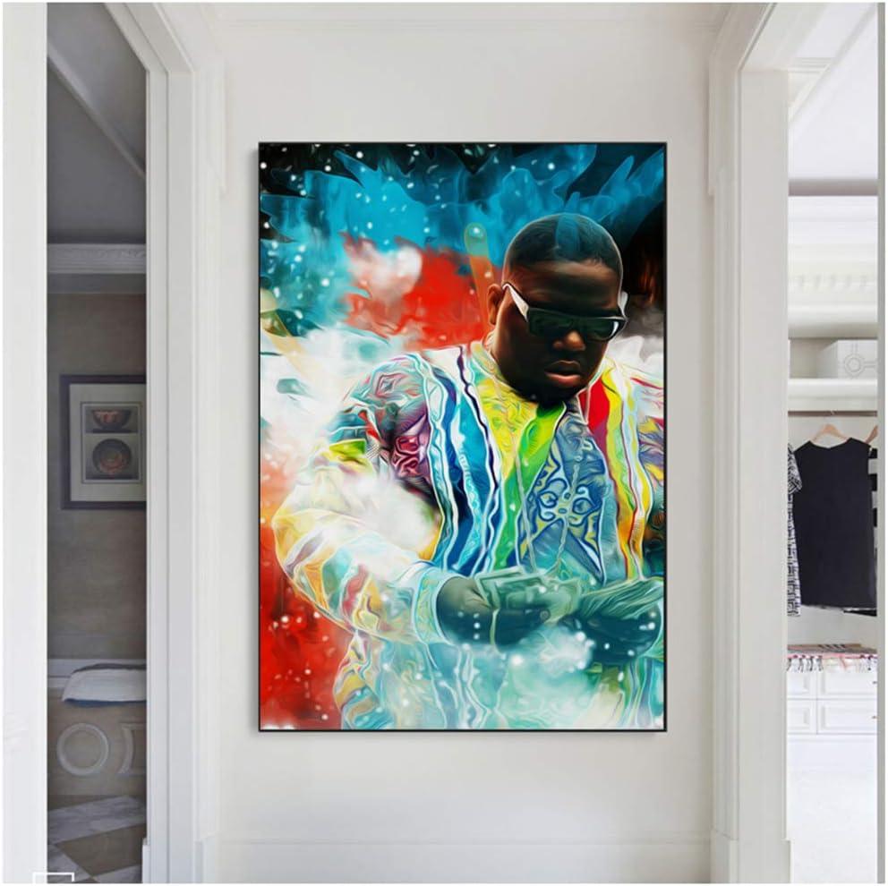 60X90Cm No Frame sjkkad Portr/ät von Biggie Smalls Leinwand Malerei an der Wand Kunst Leinwand Bilder Poster und Drucke f/ür Wohnkultur