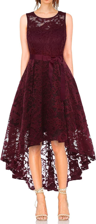 Vestido Cóctel Vintage A-línea Hi-Lo Elegante Mujer Flor Encaje Vestidos De Fiesta