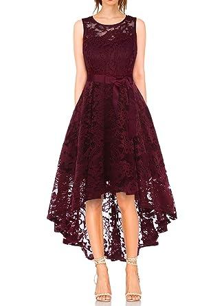 9a0a9d74b1a6f4 KT-SUPPLY Damen Elegant Schwingendes Kleid aus Spitzen Asymmetrisch  Ärmellos Unregelmässig Abendkleider Festlich Cocktailkleider Ballkleid