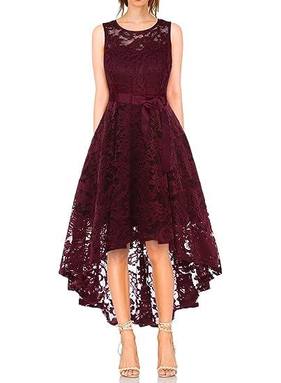 409222f9b28c65 MONYRAY Damen Asymmetrisches Spitzenkleid Ärmellos Vintage Festlich  Abendkleider Partykleid Cocktailkleid Ballkleid lang Brautjungfern Kleid  mit High-Low ...