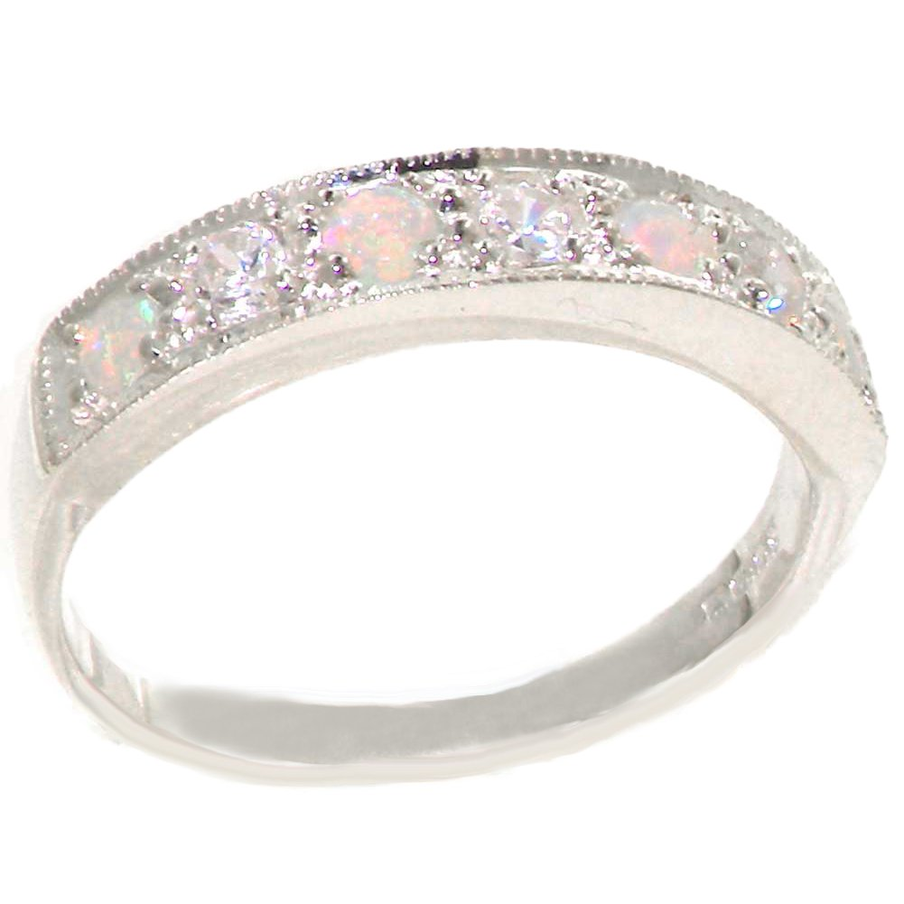 925 Sterling Silver Natural Diamond and Opal Womens Band Ring (0.18 cttw, H-I Color, I2-I3 Clarity)