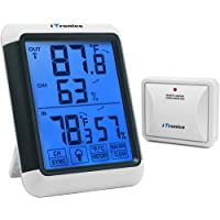 iTronics TP65 Digital Wireless Hygrometer Indoor Outdoor Thermometer Wireless Temperature and Humidity Monitor with Jumbo Touchscreen and Backlight Humidity Gauge, 200ft/60m Range