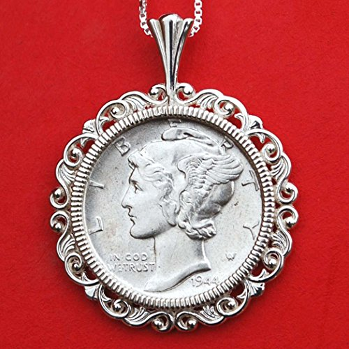 (US 1944 Mercury Dimes 90% Silver AU Coin Solid 925 Sterling Silver Necklace w. 18