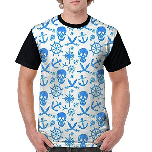 - Pirate Skull Anchor Rudder Cross Knife Matrix Jersey Baseball Tee T Shirts For Men Tshirt