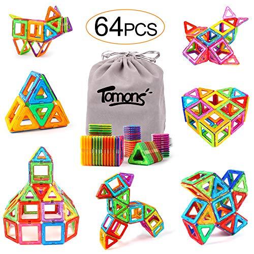 Tomons Magnetic Blocks, Magnetic Tiles Building Toys Set for Kids with Storage Bag - 64pcs