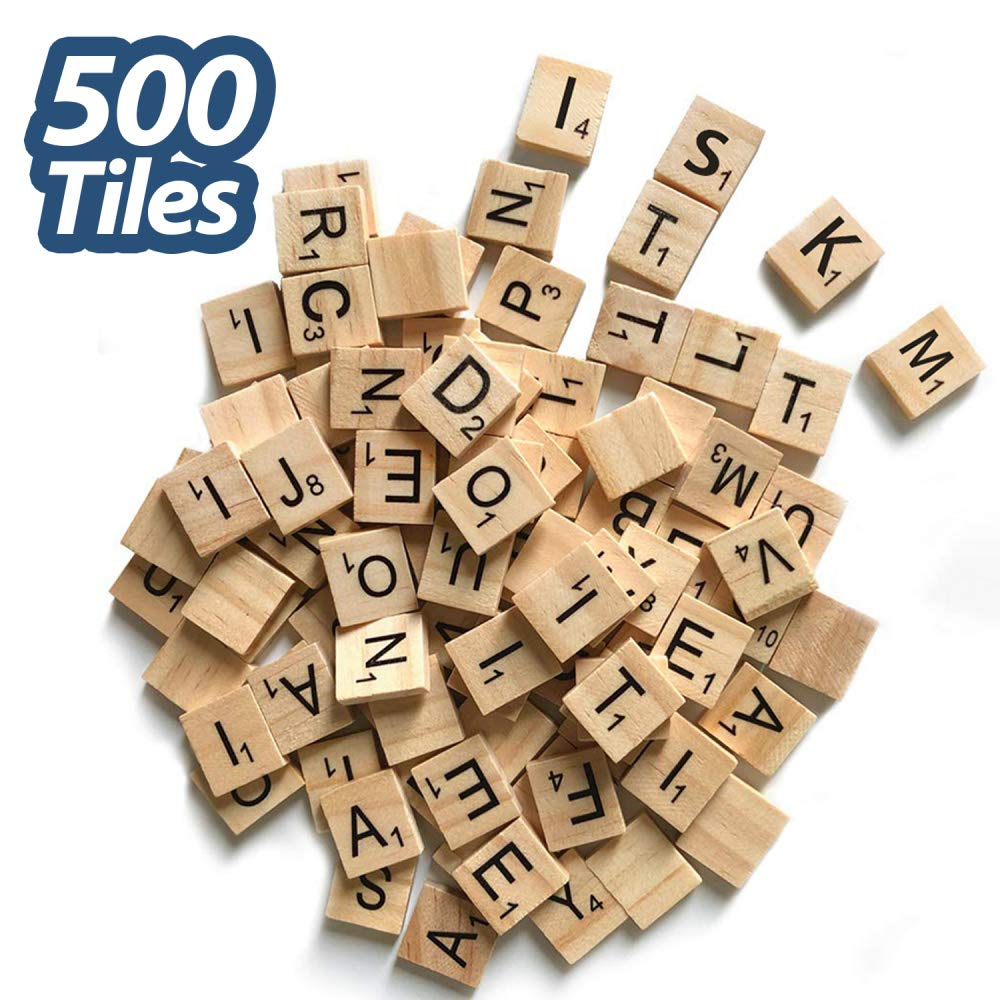 500 Pcs Wood Scrabble Tiles Scrabble Letters 5 Complete Sets of Wood Tiles - Perfect for Crafts, Letter Tiles, Spelling by Clever Delights,Kids