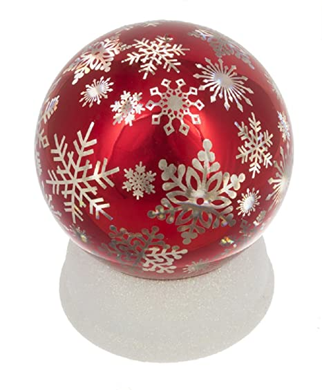 Napco Imports Santa Reindeer Sleight Mirrored Red LED Light Up 6 Inch Decorative Orb Figurine