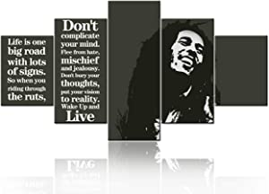 Black and White Wall Art Bob Marley Pictures Musician Paintings Jamaican Culture Art 5 Panel Canvas Inspirational Quotes Artwork Home Decor for Living Room Giclee Framed Ready to Hang(60''Wx32''H)