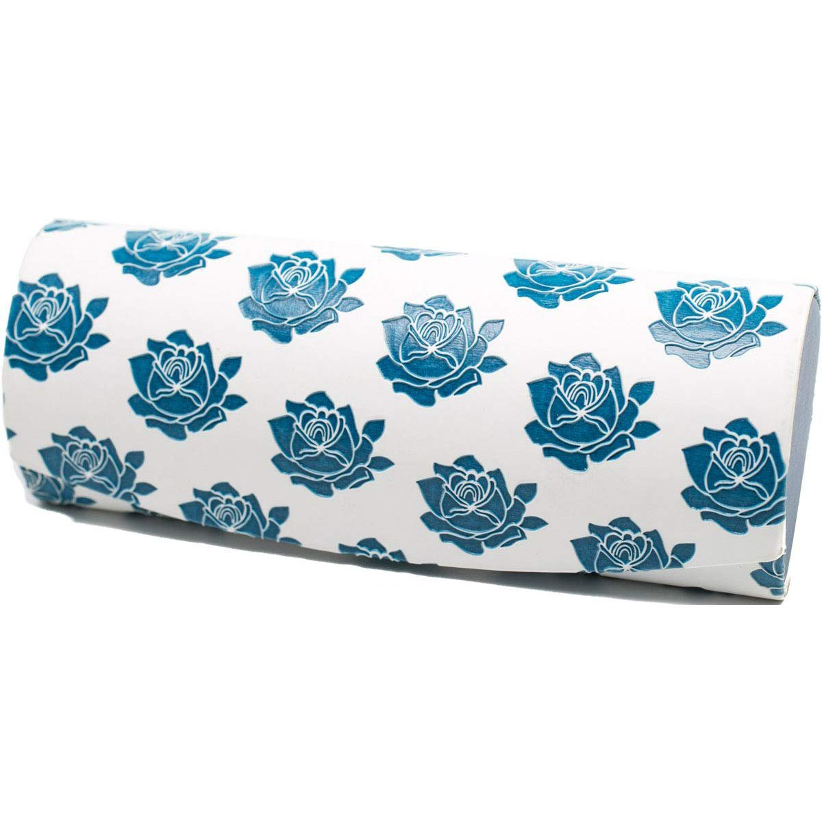 Handmade Russian Glasses case white with blue, on a solid basis, covered with artificial leather by RuPost