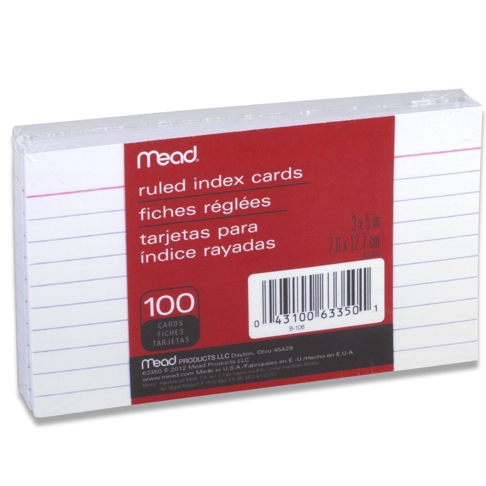 Mead Index Cards, Ruled, 3 x 5 Inch, White, 100 Per Pack, 10 PACK
