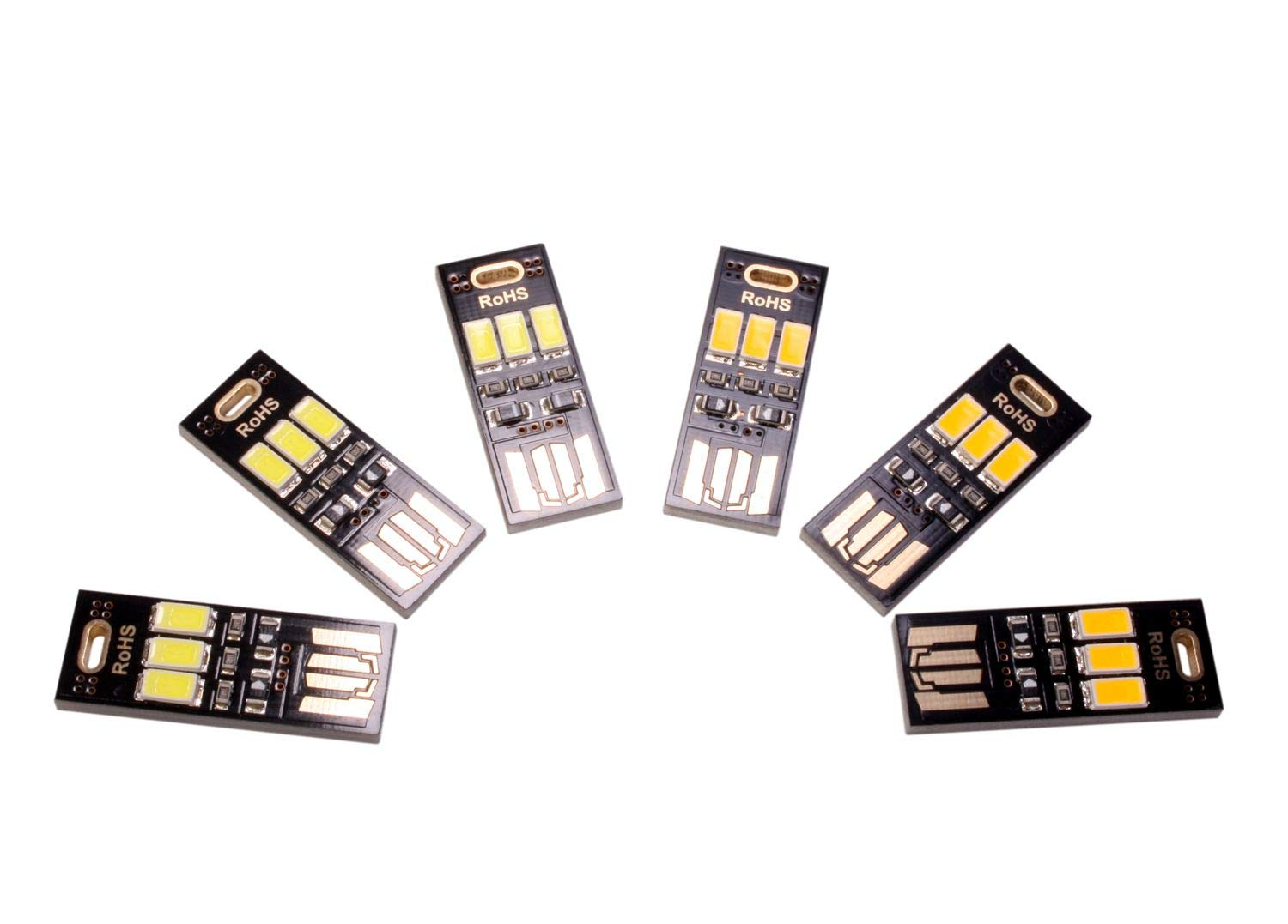 6-Pack Mini LED USB Lights, Ebyphan Stylish Book Light, LED USB Lamps for PC Laptop Computer Keyboard (Mixed, 3 White Lights + 3 Yellow Lights)