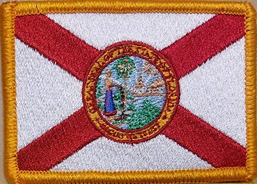 (Florida State Flag Patch with Hook & Loop Tactical Morale Sunshine State USA Emblem Gold Border #55 )