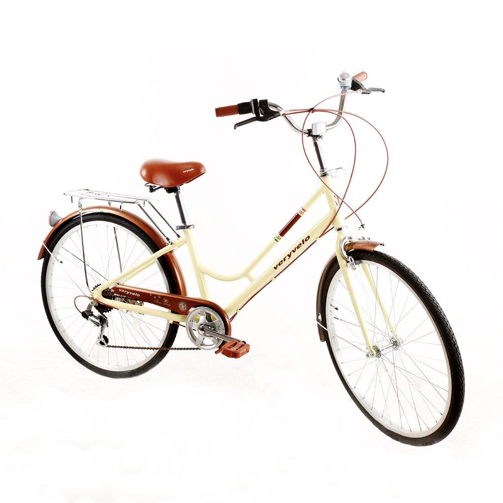 ZOYOハイブリッドバイクLadiesバイクShimano 7速度Rear Derailleur City Bike Woman 's Bike Easy to Assemble Urban Commuter Bikeベージュアルミニウムフレーム快適にRide W /キックスタンド B078T4LKN5
