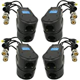 AimHD 4 Pair Passive Video/Power Balun Upgraded 1080P - 8MP BNC to RJ45 Long Distance Network Transceiver Cat5e / Cat6 Cable