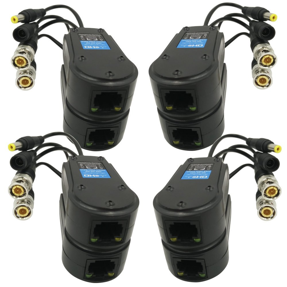 AimHD 4 Pair Passive Video/Power Balun Upgraded 1080P - 5MP BNC to RJ45 Long Distance Network Transceiver Cat5e / Cat6 Cable to BNC Male Adapter for Full HD Security Surveillance Camera System- 8Pack by AIMHD
