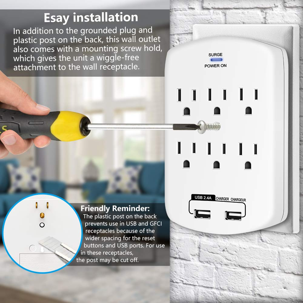 Kasonic 6 AC Socket Surge Protector with 2.4 Amp Dual USB Charging Station; Grounding and Protection Indicator for Home Wall-Mount Power Outlet 2 Pack Office UL Certified