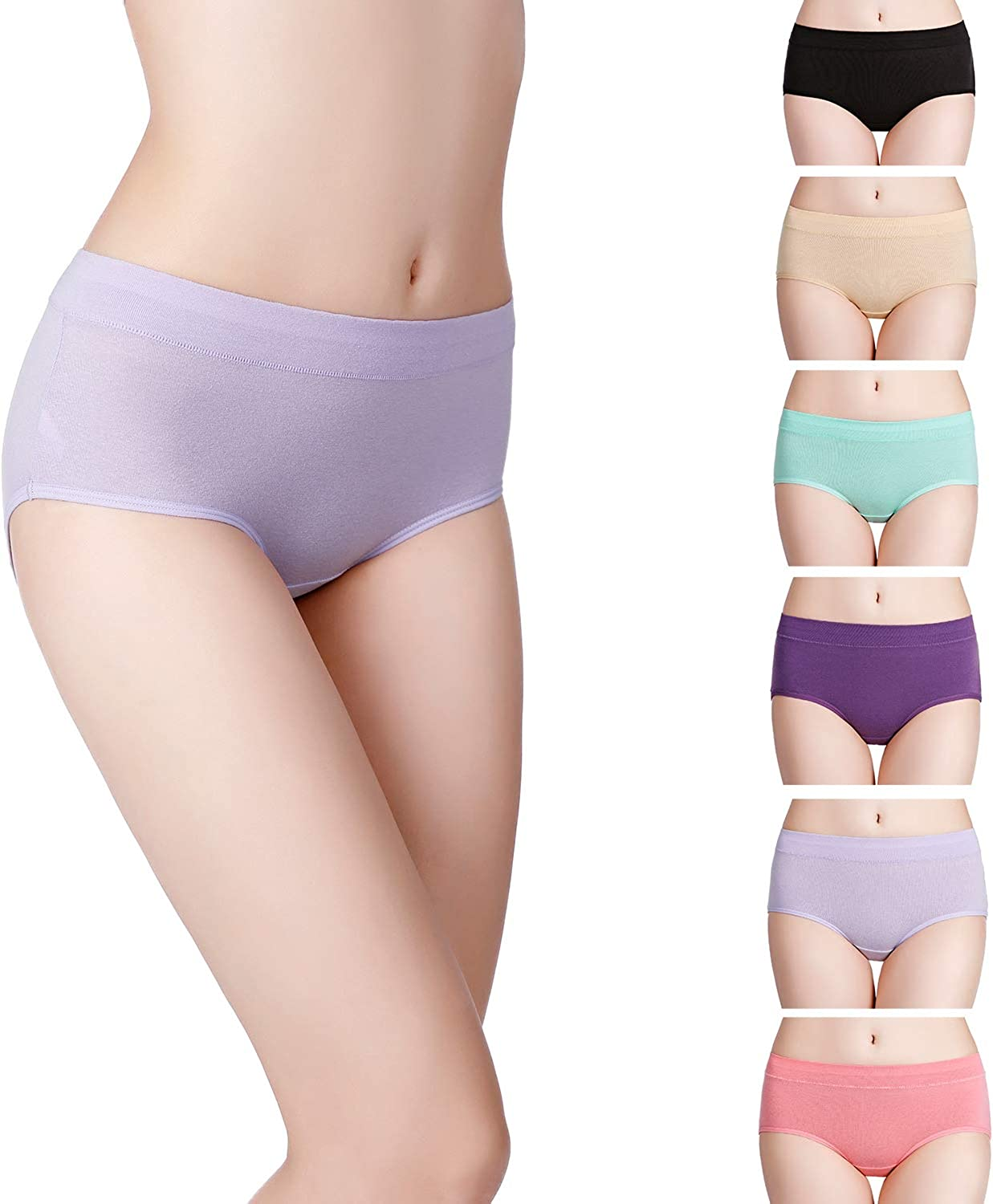 Fulyou Womens Cotton Knicker Mid Rise Ladies Briefs Multipack Soft Stretch Comfortable Underwear for Women
