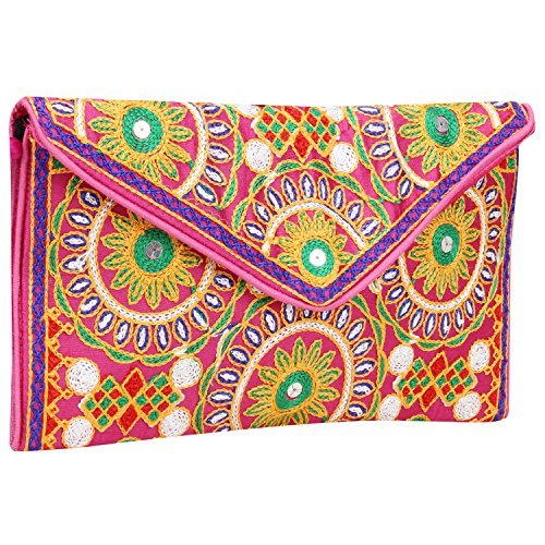 Ethnic Embroidered Hadmade Banjara foldover Clutch Purse-Sling Bag-Cross Body Bag ()