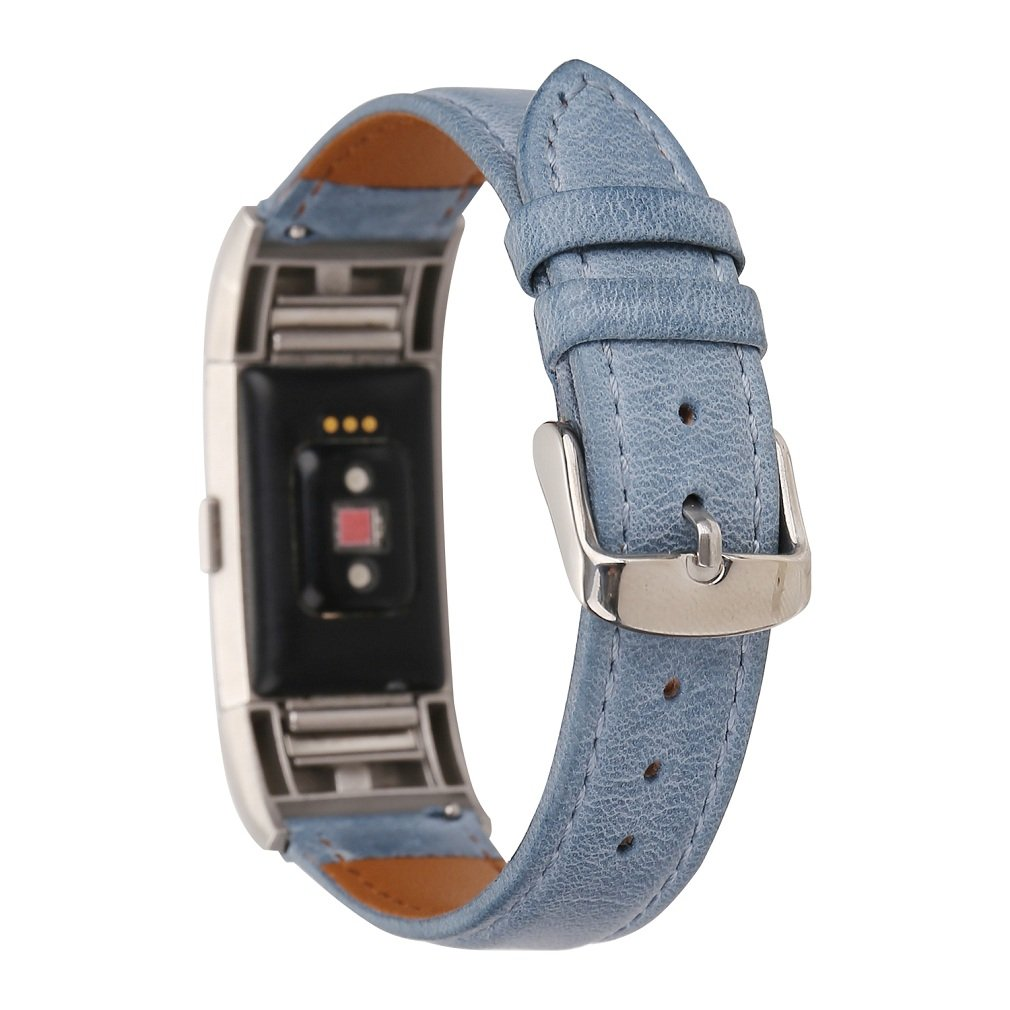 Juzzhou Watch Band For Fitbit Charge 2 Watchband Wriststrap Leather Bracelet Guard Replacement Wrist Strap Sport Wristband With Stainless Steel Adjustable Clasp For Woman Lady Girl Boys Men Blue