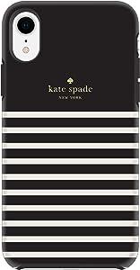 kate spade new york Black/Cream Feeder Stripe Case for iPhone XR - Soft Touch Protective Hardshell