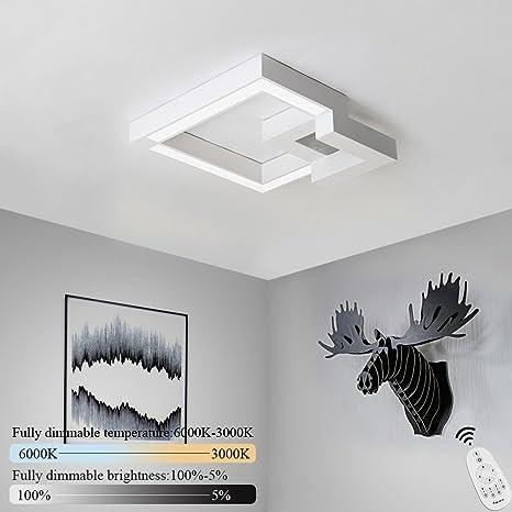ZMH Lampara De Techo 42W Control Remoto Regulable 3360lm,Frío Blanco(puede cambiar tres colores) Moderna LED Luz De Techo Diseño Geométrico para Baño ...