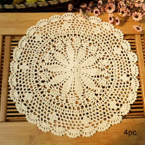 kilofly Crochet Cotton Lace Table Placemats Doilies Value Pack, 4pc, Persia, Beige, 13.7 inch