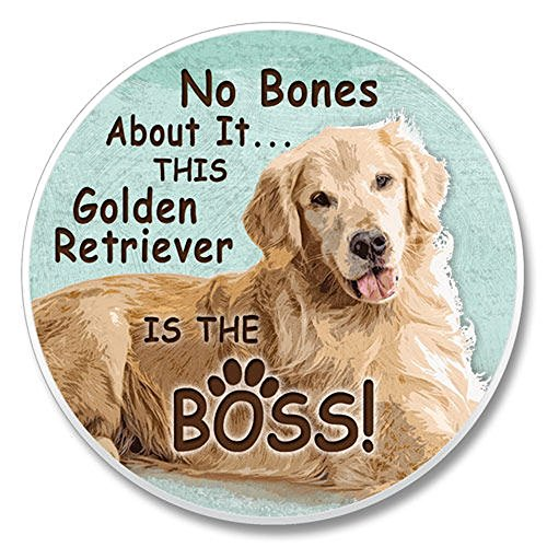 No Bones About It... This Golden Retriever is the Boss! Single Ceramic Car ()