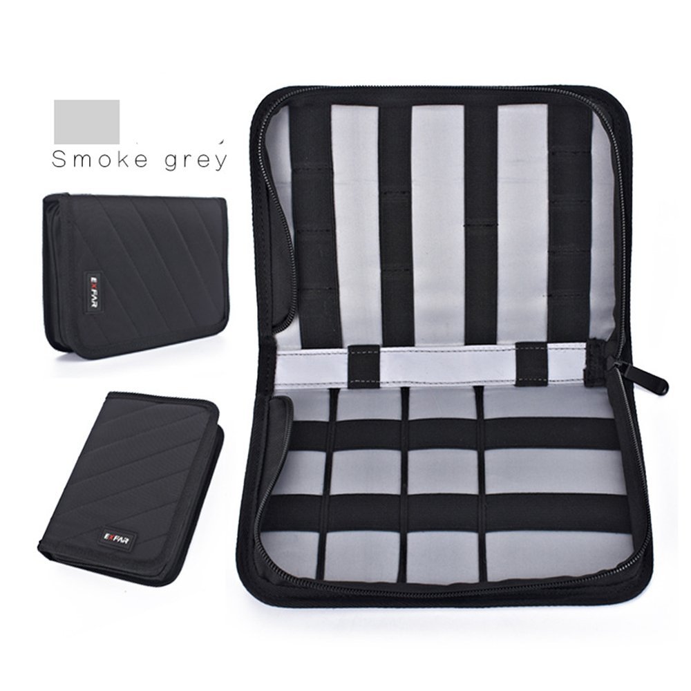 Electronics Travel Organizer Bag, HAINAND Travel Cable Storage Bag for USB, Battery, Pens, CF Cards, SD Cards, Plug, Cables, Charger(Gray)