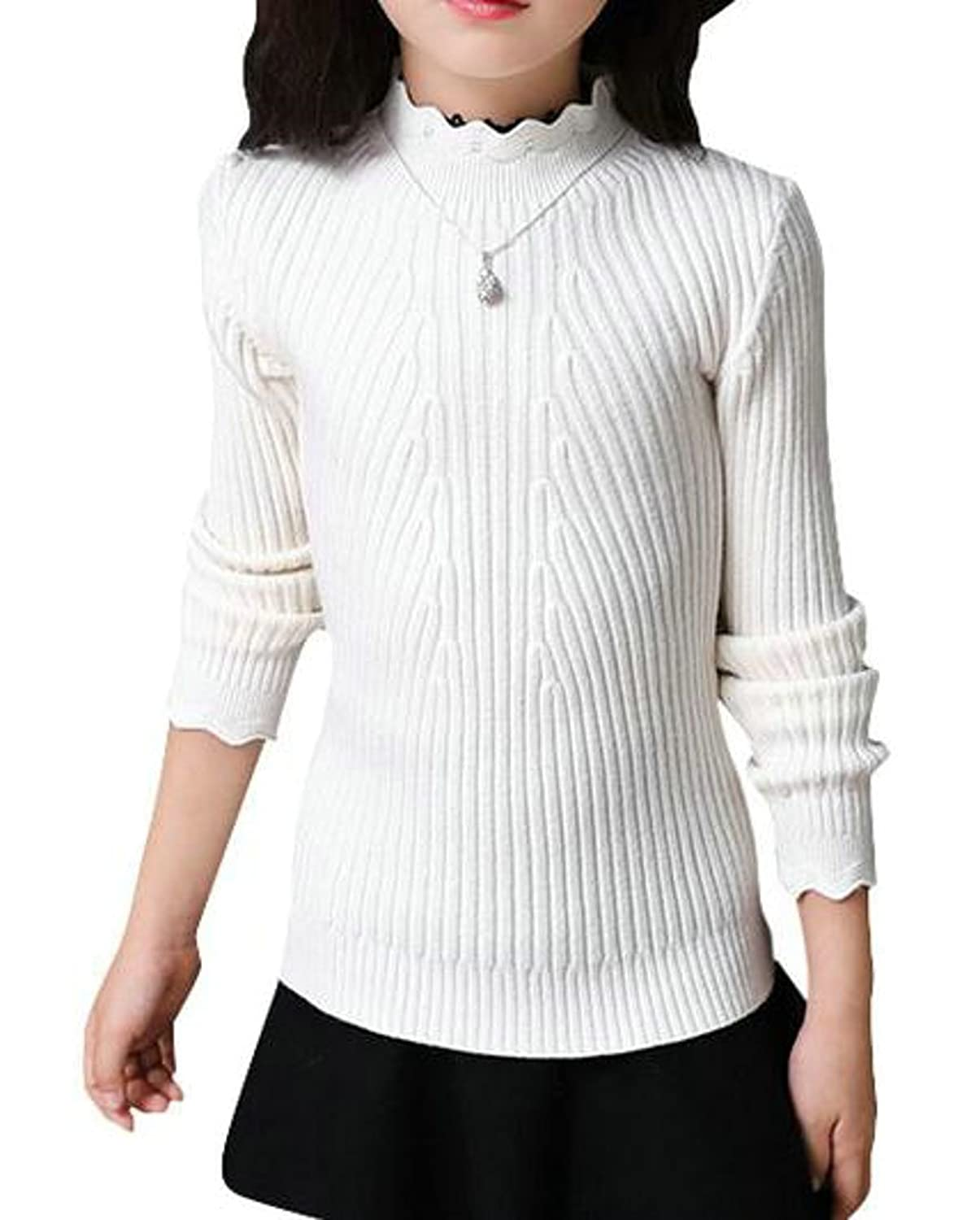b3868bc5c17b MLG Girls  Long Sleeve Crewneck Knitted Cute Pullover Sweater ...