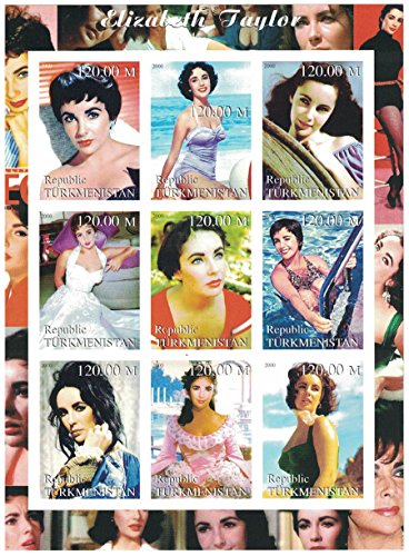 Stamps for Collectors - imperforfate Stamp Sheet Featuring Elizabeth Taylor / The Actress in Various Poses / Turkmenistan