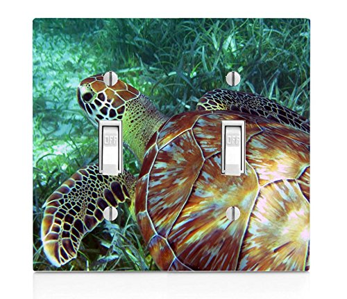 Sea Turtle Swimming in the Ocean Double Light Switch