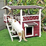 Petsfit 2-Story Outdoor Weatherproof Cat House with Stairs and Escape Door, 1-Year Warranty