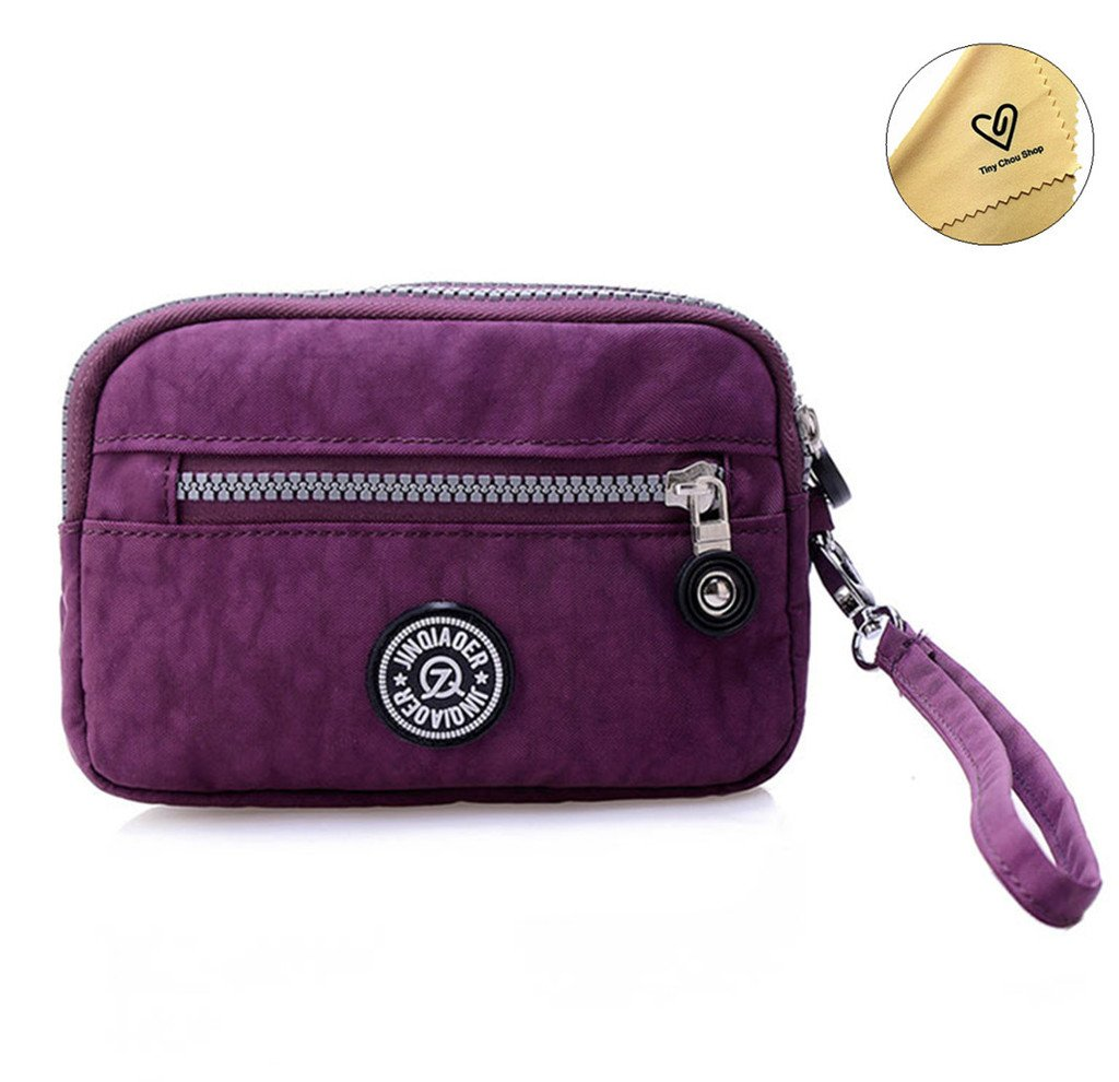Tiny Chou Dual Layers Zipper Purse Waterproof Nylon Wristlet Bag Clutch Handbag Cell Phone Pouch-Purple