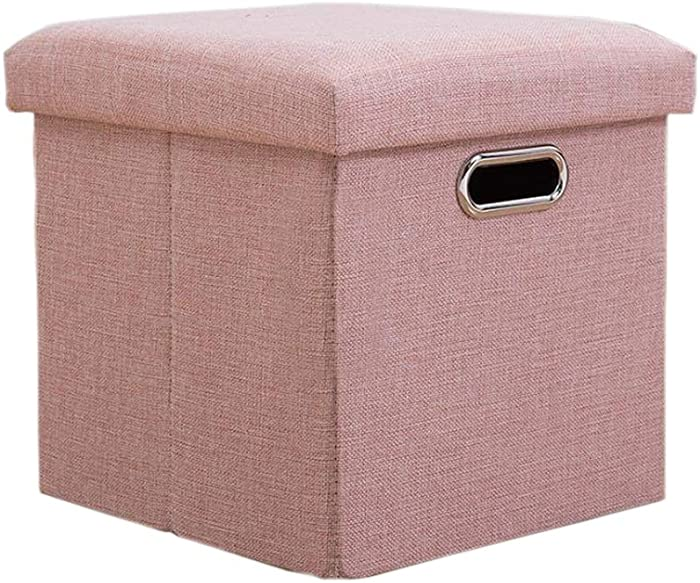 Lihio Folding Storage Ottoman Cube Foot Rest Stool Storage Seat Foldable Storage Boxes Hollow Design Padded with Memory Foam Lid Sofa Bed for Space Saving 11.8x11.8x11.8 Inch,Yellow Pink